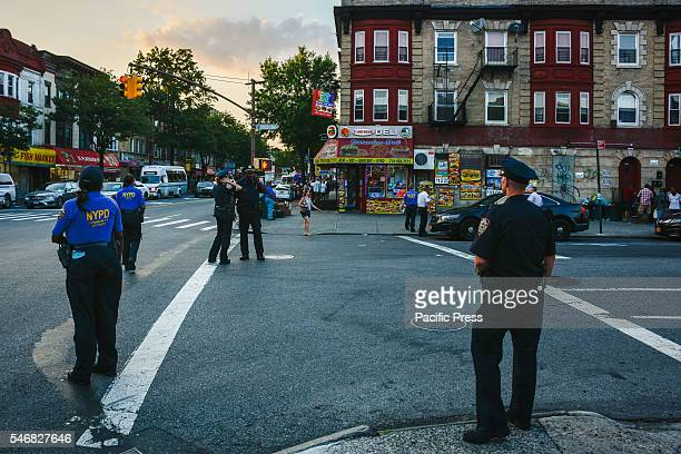 NYPD directs traffic at Clarendon Road and Flat bush Avenue not far from Delrawn Small Dempsey's Funeral at Harmony Funeral Home 2200 Clarendon Road