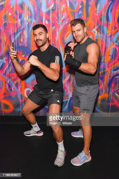 Diren Kartel and Bradley Simmonds take part in a charity KOBOX class at KOBOX Marylebone raising funds for Rainbow Railroad a charity which helps...