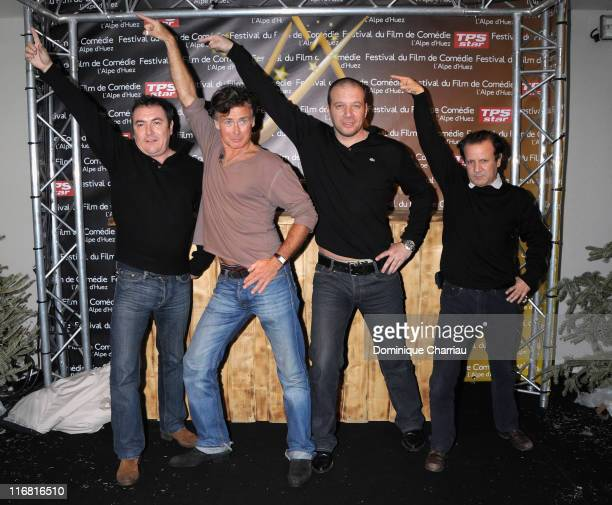 Diretor Fabien Onteniente actor Franck Dubosc actor Samuel Le Bihan and actor Abbes Zahmani pose during a photocall for the Movie 'DISCO' at the Film...