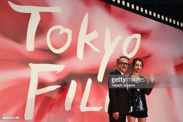 Diretor/Screenplay Zaza Khalvashi Mariska Diasamidze attend the red carpet of the 30th Tokyo International Film Festival at Roppongi Hills on October...