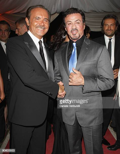 Direttore generale de RAI Mauro Masi and Sylvester Stallone attend 'The Expendable Casino Garden Gala' at the Venice Casino on September 11, 2009 in...