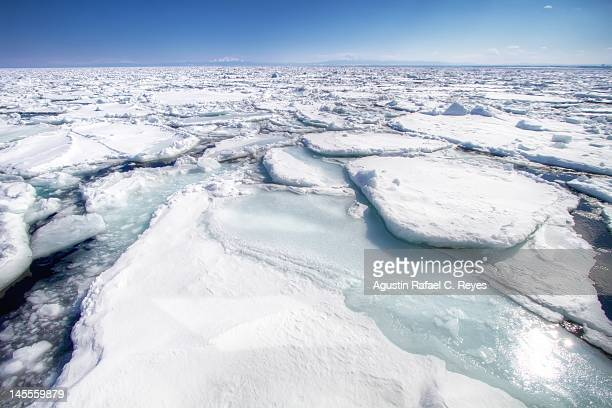dirft ice in abashiri - drift ice stock pictures, royalty-free photos & images