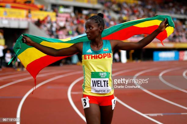 Diribe Welteji of Ethiopia celebrates winning gold in the final of the women's 800m on day three of The IAAF World U20 Championships on July 12 2018...
