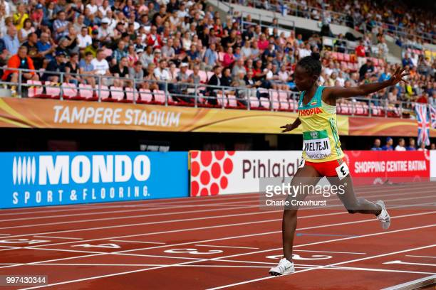 Diribe Welteji of Ethiopia crosses the finish line to win gold in the final of the women's 800m on day three of The IAAF World U20 Championships on...