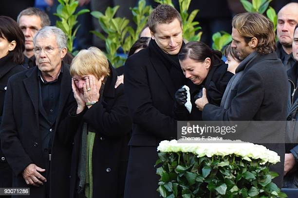 Dirk and Gisela Enke Robert Enkes parents Joerg Nebelung Teresa Enke and Marco Villa during the memorial service prior to Robert Enke's funeral at...