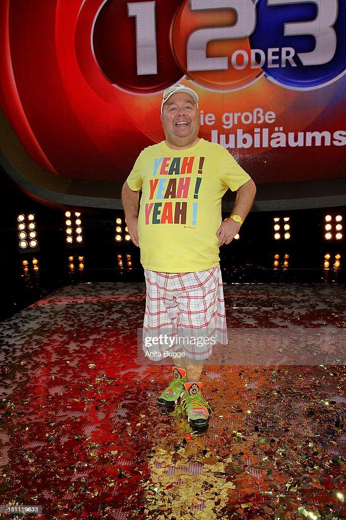 Dirk Bach attends a photocall for '1, 2 oder 3 - Die Grosse Jubilaeumsshow' at Studios Berlin Adlershof on September 1, 2012 in Berlin, Germany.