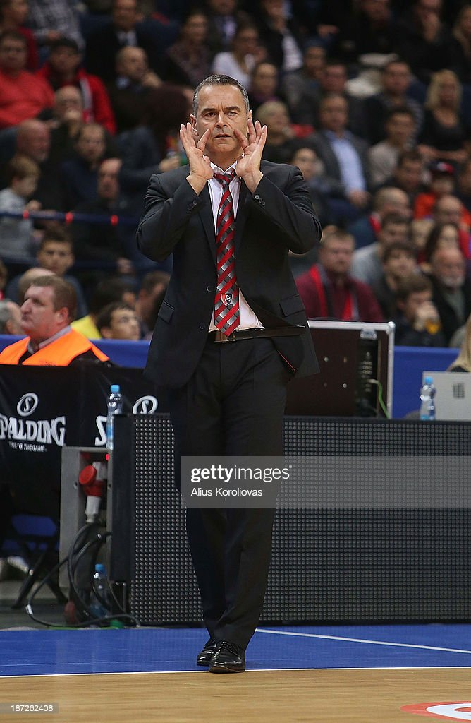 Dirk Bauermann, Head Coach of Lietuvos Rytas Vilnius in action during the 2013-2014 Turkish Airlines Euroleague Regular Season Date 4 game between Lietuvos Rytas Vilnius v Maccabi Electra Tel Aviv at Siemens Arena on November 7, 2013 in Vilnius, Lithuania.