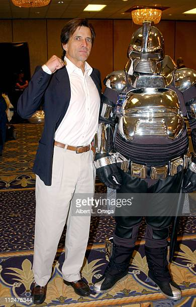 """Dirk Benedict and Cylon during 2003 Galacticon Celebrating the 25th Anniversary of """"Battlestar Galactica"""" - Day Two at The Universal Sheraton Hotel..."""