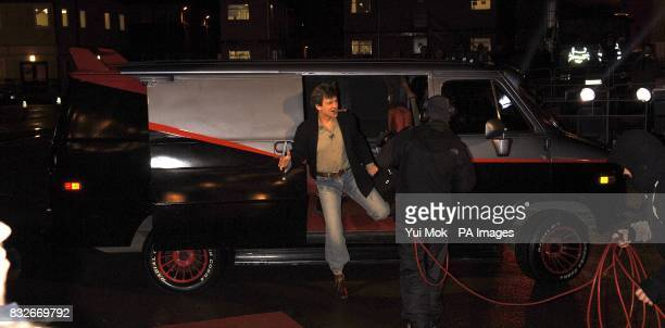 """Dirk Benedict arrives in an """"A-Team"""" style van to enter the Celebrity Big Brother house. Elstree Studios, Borehamwood, Hertfordshire. Picture date:..."""