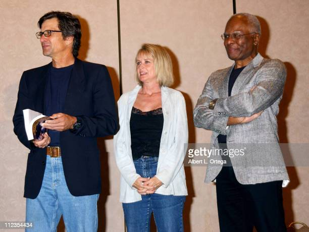 """Dirk Benedict, Laurette Spang, Terry Carter during 2003 Galacticon Celebrating the 25th Anniversary of """"Battlestar Galactica"""" - Day One at The..."""
