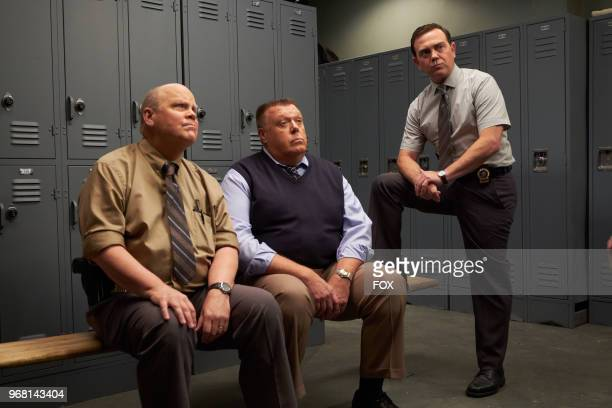 Dirk Blocker Joel McKinnon Miller and Joe Lo Truglio in the Show Me Going episode of BROOKLYN NINENINE airing Sunday May 6 on FOX
