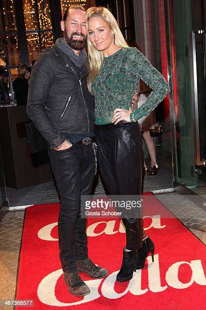 Dirk Budach and Janine Kunze attend the Berlin Opening Night Of Gala Ufa Fiction during the 64th Berlinale International Film Festival at Hotel Das...
