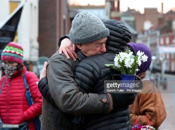 Dirk Campbell father of Anna Campbell attends a vigil honouring Anna in her home town of Lewes East Sussex as the British woman who died fighting...