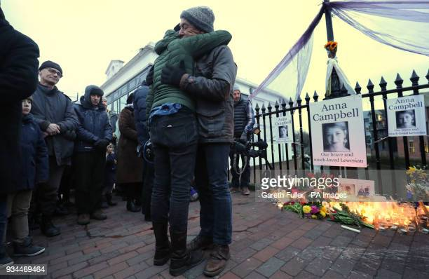 Dirk Campbell father of Anna Campbell attends a vigil in her home town of Lewes East Sussex as the British woman who died fighting with a Kurdish...