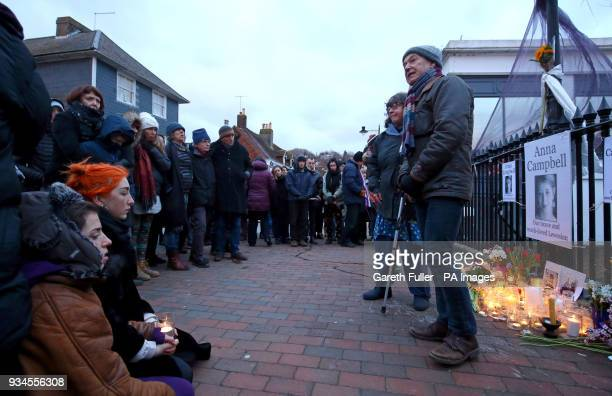 Dirk Campbell father of Anna Campbell speaks at a vigil honouring Anna in her home town of Lewes East Sussex as the British woman who died fighting...