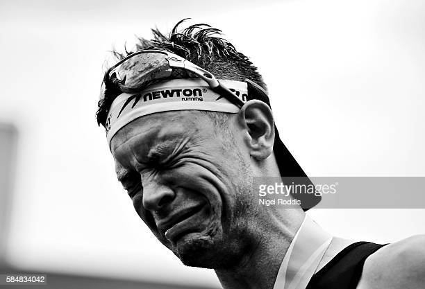 Dirk Dexter of Germany reacts after finishing Ironman Maastricht on July 31 2016 in Maastricht Netherlands