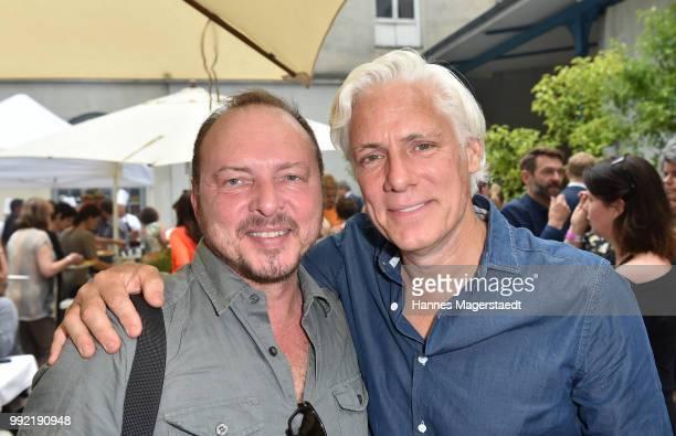 Dirk Fehrecke and actor Philipp Brenninkmeyer attend the FFF reception during the Munich Film Festival 2018 at Praterinsel on July 5 2018 in Munich...