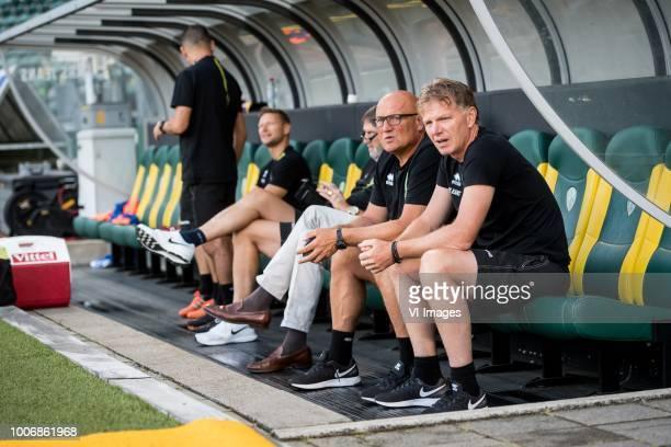 Dirk Heesen coach Alfons Fons Groenendijk of ADO Den Haag during the Preseason Friendly match between ADO Den Haag and Panathinaikos at the Cars...