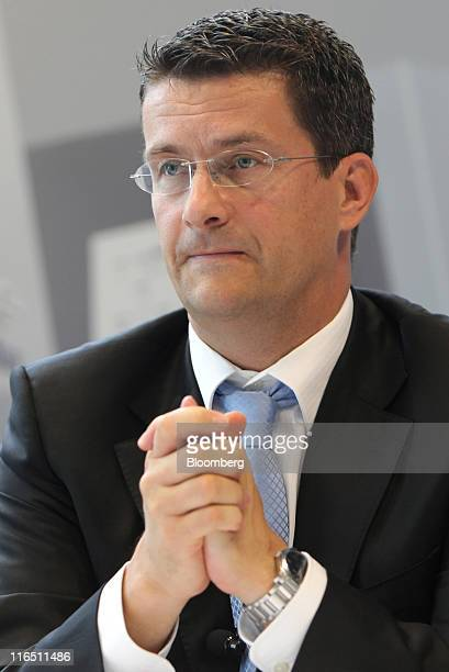 Dirk Kahliebe chief financial officer of Heidelberger Druckmaschinen AG gestures during the company's news conference in Heidelberg Germany on...