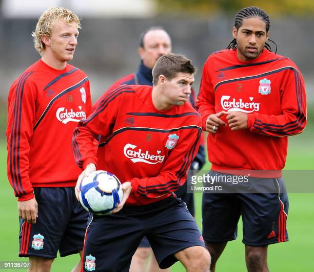 Dirk Kuyt, captain Steven Gerrard and Glen Johnson of Liverpool in action during a training session at Melwood on September 25, 2009 in Liverpool,...