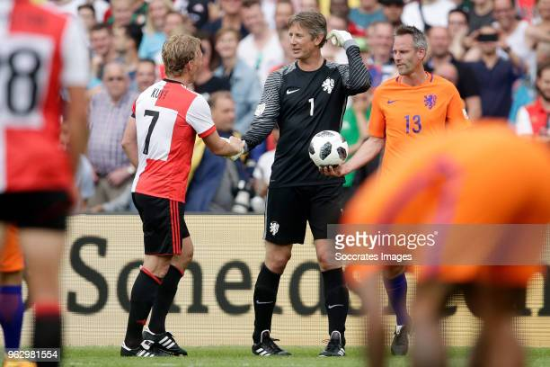 Dirk Kuyt Edwin van der Sar Andre Ooijer during the Dirk Kuyt Testimonial at the Feyenoord Stadium on May 27 2018 in Rotterdam Netherlands