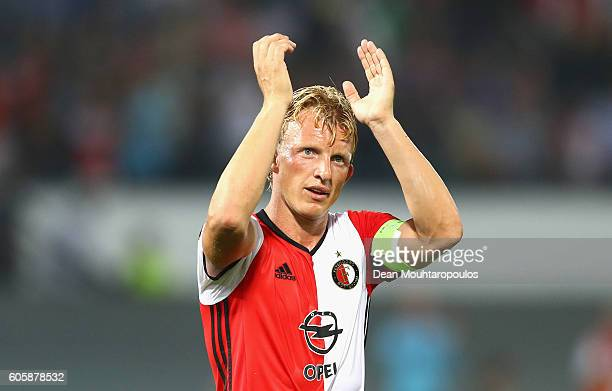 Dirk Kuyt of Feyenoord applauds fans after the UEFA Europa League Group A match between Feyenoord and Manchester United FC at Feijenoord Stadion on...