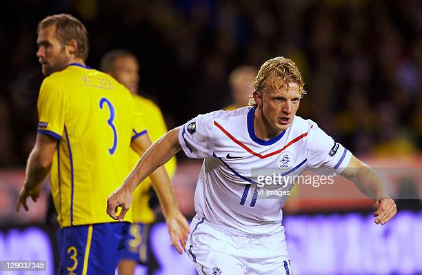 Dirk Kuyt of Holland and Olof Mellberg of Sweden during the EURO 2012 Qualifying match between Sweden and Netherlands at the Rasunda stadium on...