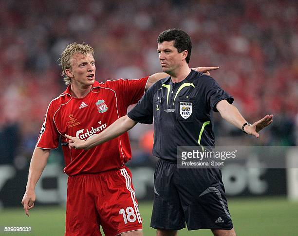 Dirk Kuyt of Liverpool argues with the referee Herbert Fandel during the UEFA Champions League Final match between Liverpool and AC Milan at the...