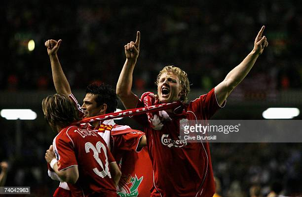 Dirk Kuyt of Liverpool celebrates after his team won the UEFA Champions League semi final second leg match between Liverpool and Chelsea at Anfield...