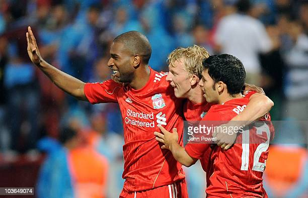 Dirk Kuyt of Liverpool celebrates after scoring the second for Liverpool during the Europa League play off, 2nd leg match between Trabzonspor and...