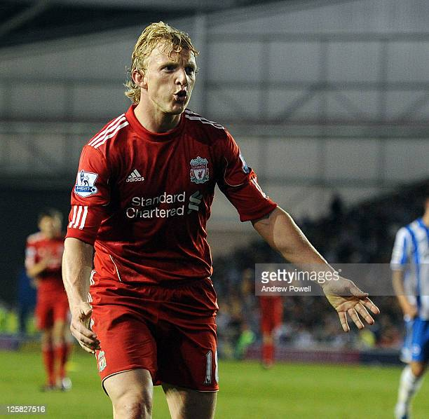 Dirk Kuyt of Liverpool celebrates after scoring the second Liverpool goal during the Carling Cup third round match between Brighton & Hove Albion and...