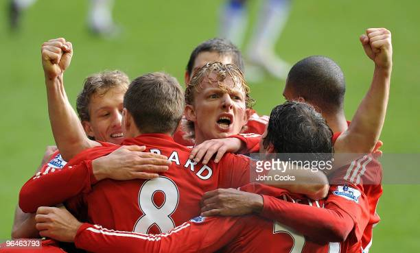 Dirk Kuyt of Liverpool celebrates his goal during the Barclays Premier League match between Liverpool and Everton at Anfield on February 6, 2010 in...
