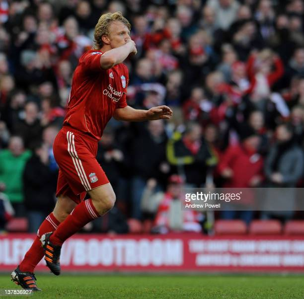 Dirk Kuyt of Liverpool celebrates his goal to make it 2-1 during the FA Cup fourth round match between Liverpool and Manchester United at Anfield on...
