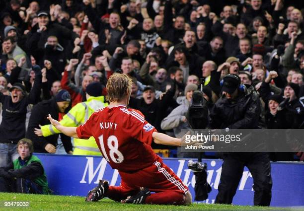 Dirk Kuyt of Liverpool celebrates scoring the second goal for Liverpool against Everton during the Barclays Premier League match between Everton and...