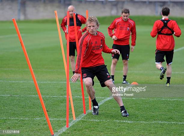 Dirk Kuyt of Liverpool in action during a training session at Melwood Training Ground on April 15 2011 in Liverpool England