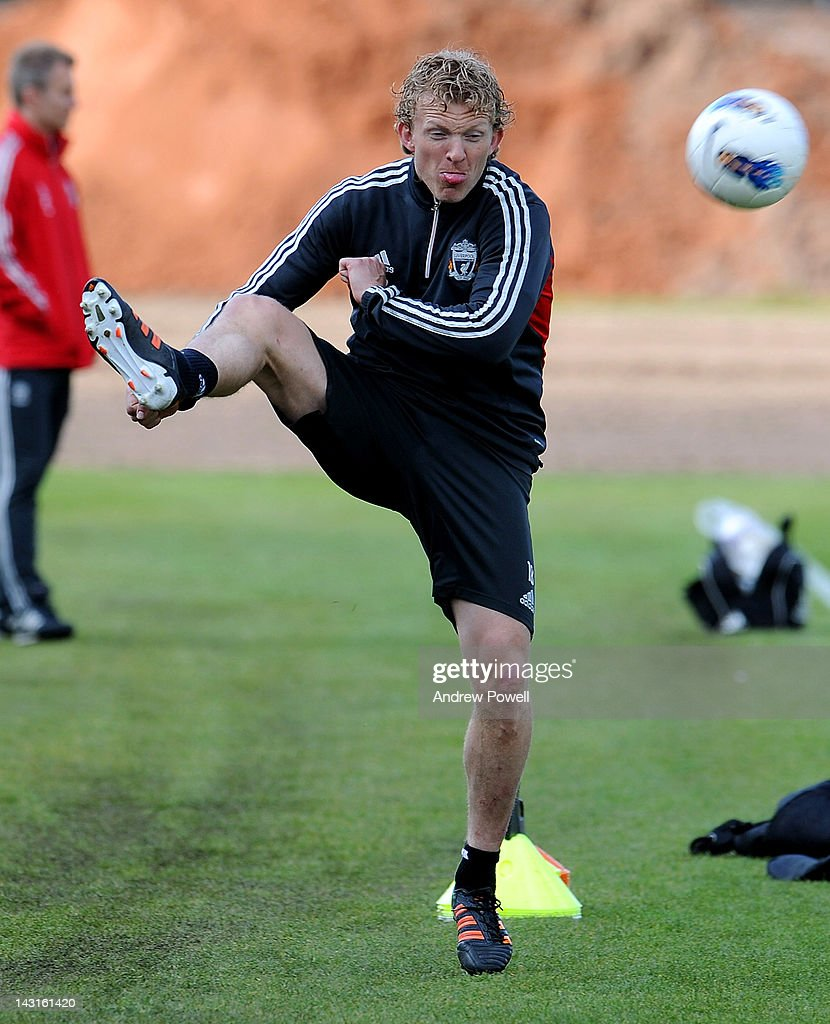 Dirk Kuyt of Liverpool in action during a training session at Melwood Training Ground on April 20, 2012 in Liverpool, England.