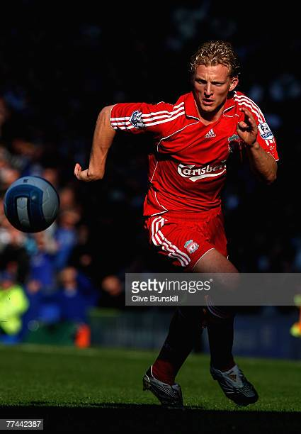 Dirk Kuyt of Liverpool in action during the Barclays Premier League match between Everton and Liverpool at Goodison Park on October 20 2007 in...