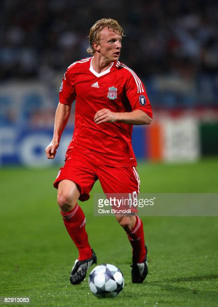 Dirk Kuyt of Liverpool in action during the UEFA Champions League Group D match between Olympique de Marseille and Liverpool at the Stade Velodrome...