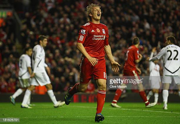 Dirk Kuyt of Liverpool reacts as his goal is disallowed during the Barclays Premier League match between Liverpool and Swansea City at Anfield on...