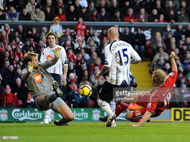 Dirk Kuyt of Liverpool scores a goal during the Barclays Premier League match between Liverpool and Bolton Wanderers at Anfield on January 30 2010 in...