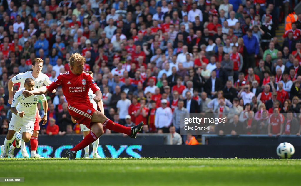 Dirk Kuyt of Liverpool scores the second goal from the penalty spot during the Barclays Premier League match between Liverpool and Newcastle United at Anfield on May 1, 2011 in Liverpool, England.