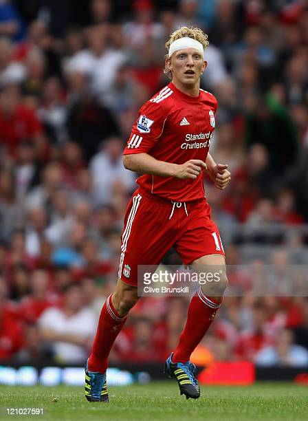 Dirk Kuyt of Liverpool with a head bandage during the Barclays Premier League match between Liverpool and Sunderland at Anfield on August 13 2011 in...
