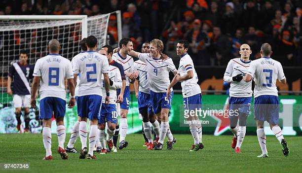 Dirk Kuyt of the Netherland celebrates scoring a goal during the International Friendly between Netherlands and USA at the Amsterdam Arena on March 3...