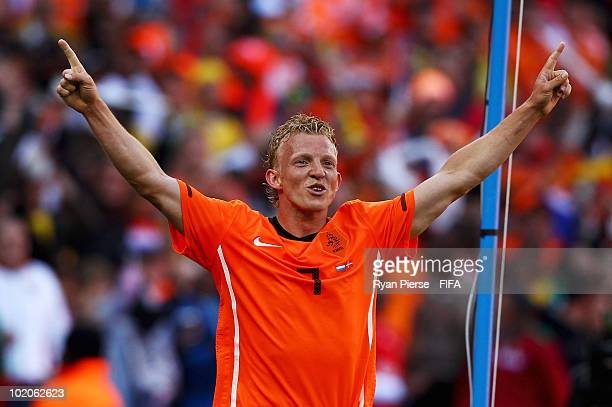 Dirk Kuyt of the Netherlands celebrates after scoring the second goal during the 2010 FIFA World Cup Group E match between Netherlands and Denmark at...
