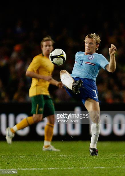 Dirk Kuyt of the Netherlands controls the ball during the international friendly match between Australia and the Netherlands at Sydney Football...