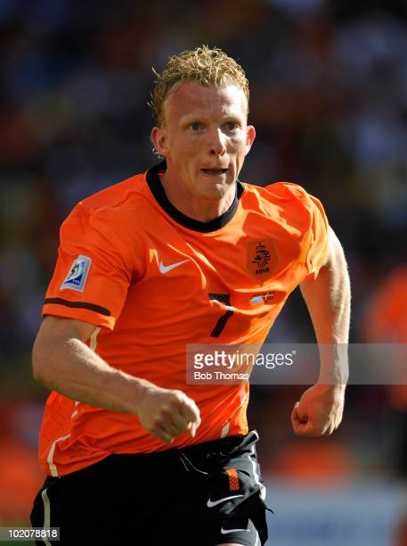 Dirk Kuyt of the Netherlands during the 2010 FIFA World Cup Group E match between Netherlands and Denmark at Soccer City Stadium on June 14, 2010 in...