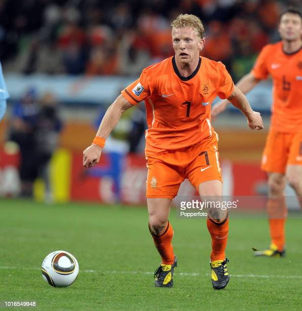 Dirk Kuyt of the Netherlands in action during the 2010 FIFA World Cup Semi Final match between Uruguay and the Netherlands at Green Point Stadium in...