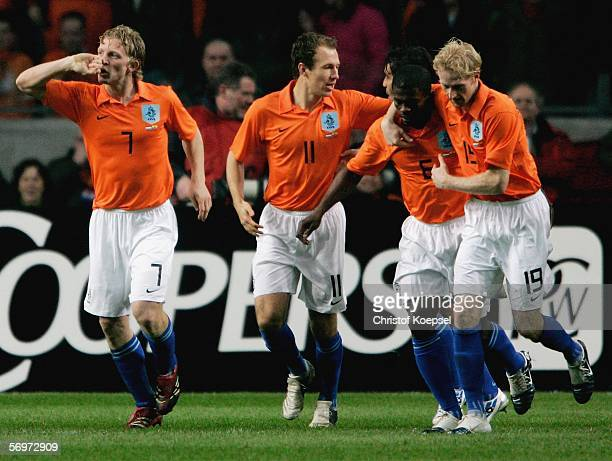 Dirk Kuyt of the Netherlandss celebrates his first goal during the international friendly match between Netherlands and Ecuador at the Amsterdam...
