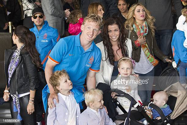Dirk Kuyt with his partner Gertrude and his children Roan DirkJordan GiovanniNoelle and Aidan at Schiphol Airport where the Dutch soccer players bid...