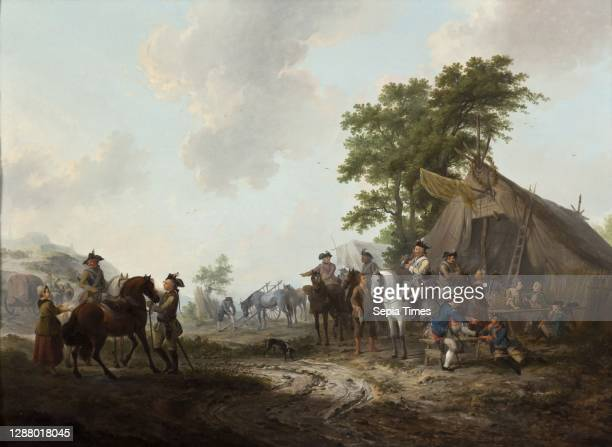 Dirk Langendijk, Hussars and infantrymen of regiments 'on Holland', at tent of vendor or marketer, painting footage wood oil, d 1,0 Painting: oil on...